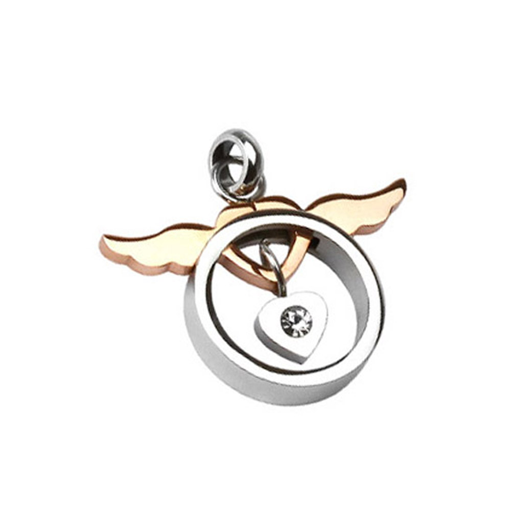 West Coast Jewelry 316L Stainless Steel Copper Tone Angel Wing Heart with Heart CZ Loop Pendant at Sears.com