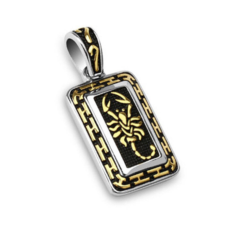 West Coast Jewelry 316L Stainless Steel Gold IP Scorpion Tribal Tag Pendant at Sears.com